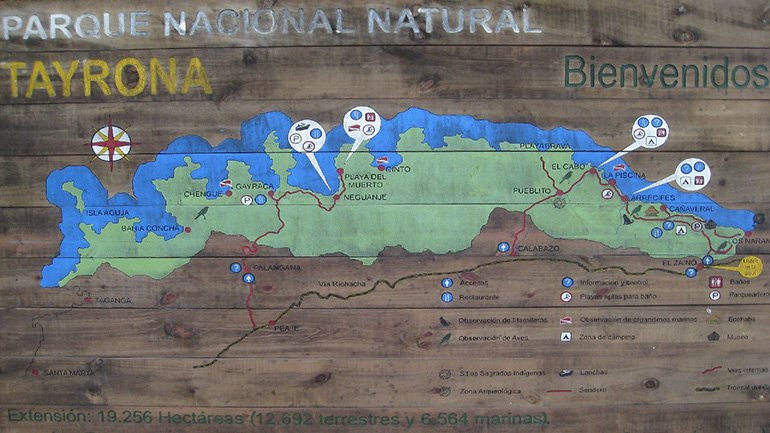 Tayrona National Park map kaart Colombia